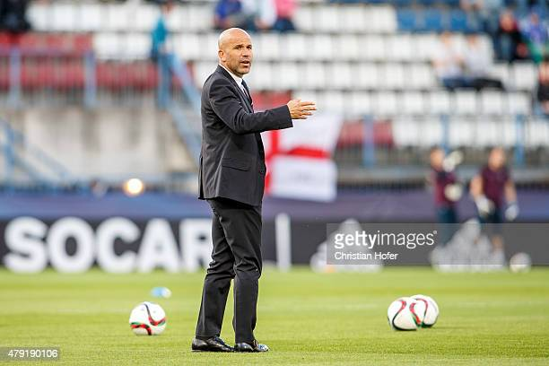 Head Coach Luigi Di Biagio looks on prior to the UEFA Under21 European Championship 2015 match between England and Italy at Andruv Stadium on June 24...