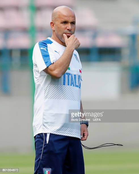 Head coach Luigi Di Biagio of Italy gestures during the MD1 training session of the U21 national team of Italy at stadium Wisla on June 26 2017 in...