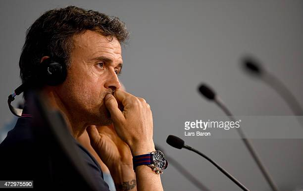 Head coach Luis Enrique looks on during a FC Barcelona press conference on the eve of the UEFA Champions League semi final second leg match against...
