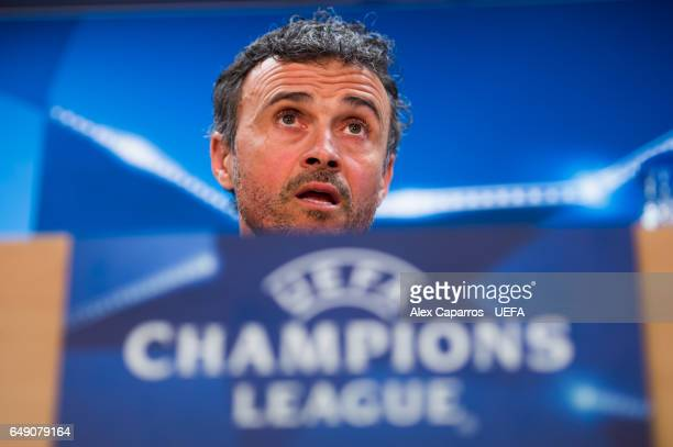 Head coach Luis Enrique Martinez of FC Barcelona faces the media during a press conference ahead of the UEFA Champions League Round of 16 second leg...
