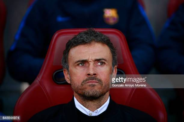 Head coach Luis Enrique Martinez of FC Barcelona looks on sitted on the bench prior to start the La Liga match between Club Atletico de Madrid and FC...