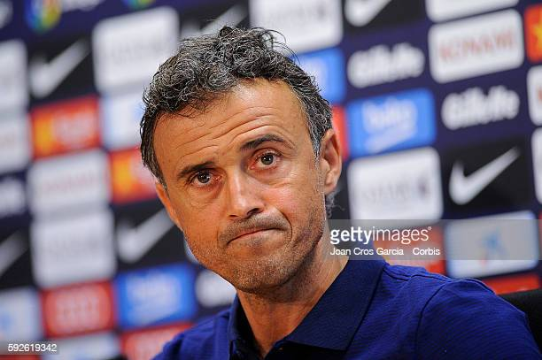 Head coach Luis Enrique of Barcelona attends a press conference at the Sports Center FC Barcelona Joan Gamper ahead of the first Spanish League match...