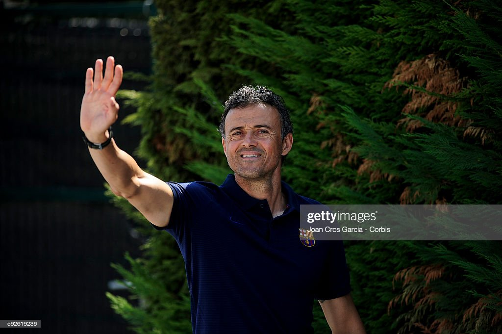 Head coach Luis Enrique of Barcelona greets the press as he arrives to attend a press conference at the Sports Center FC Barcelona Joan Gamper ahead of the first Spanish League match between F.C.Barcelona and Betis on August 19, 2016 in Sant Joan Despí, Spain.