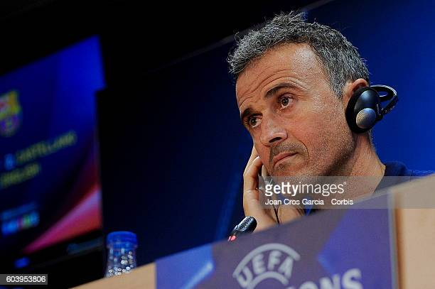 Head coach Luis Enrique of FC Barcelona attends a press conference at the Sports Center FC Barcelona Joan Gamper before the Champions League match...
