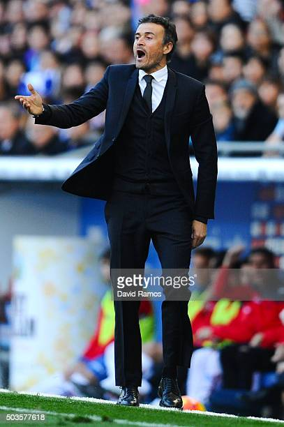 Head coach Luis Enrique of FC Barcelona directs his players during the La Liga match between RCD Espanyol and FC Barcelona at CornellaEl Prat Stadium...