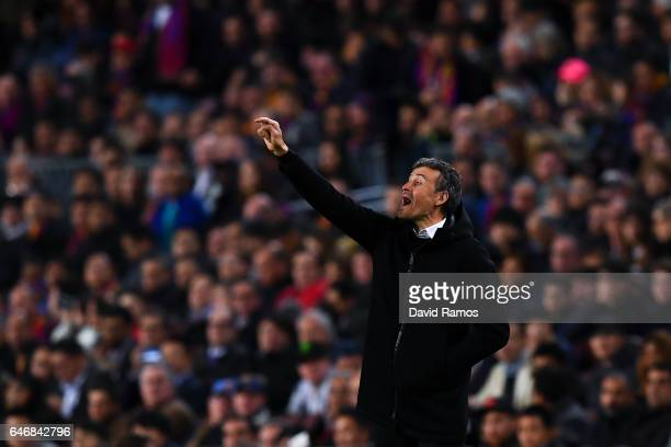 Head coach Luis Enrique of FC Barcelona directs his players during the La Liga match between FC Barcelona and Real Sporting de Gijon at Camp Nou...
