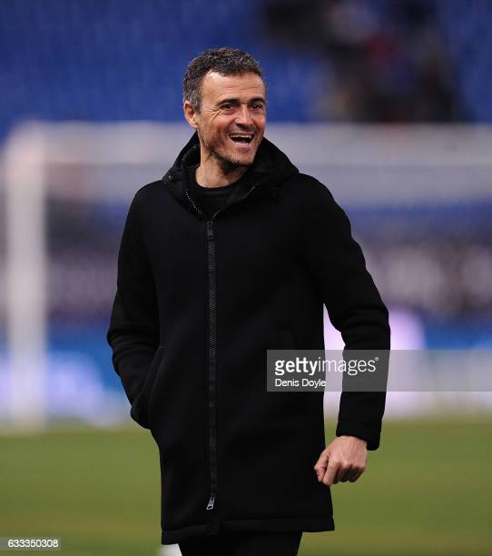 Head coach Luis Enrique of FC Barcelona looks on before the start of the Copa del Rey Semifinal First Leg match between Atletico Madrid and FC...