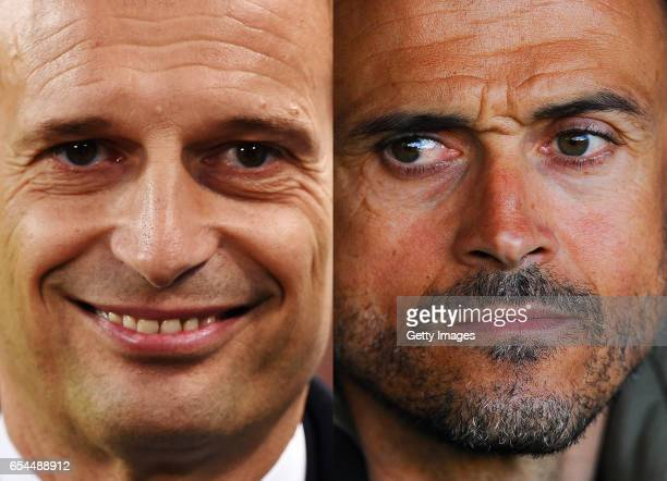 COMPOSITE OF TWO IMAGES Image numbers 518752746 and 522701142 In this composite image a comparision has been made between Juventus FC head coach...