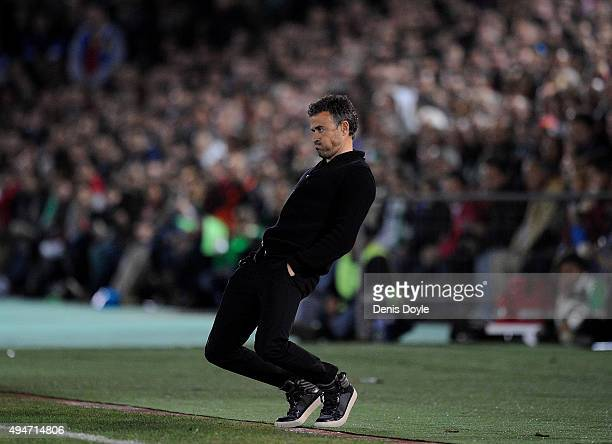 Head coach Luis Enrique of FC Barcelona reacts on the touchline during the Copa del Rey Last of 16 First Leg match between CF Villanovense and FC...