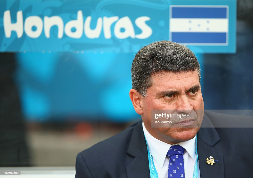Head coach <a gi-track='captionPersonalityLinkClicked' href=/galleries/search?phrase=Luis+Fernando+Suarez+-+Soccer+Coach&family=editorial&specificpeople=548216 ng-click='$event.stopPropagation()'>Luis Fernando Suarez</a> of Honduras looks on during the 2014 FIFA World Cup Brazil Group E match between France and Honduras at Estadio Beira-Rio on June 15, 2014 in Porto Alegre, Brazil.