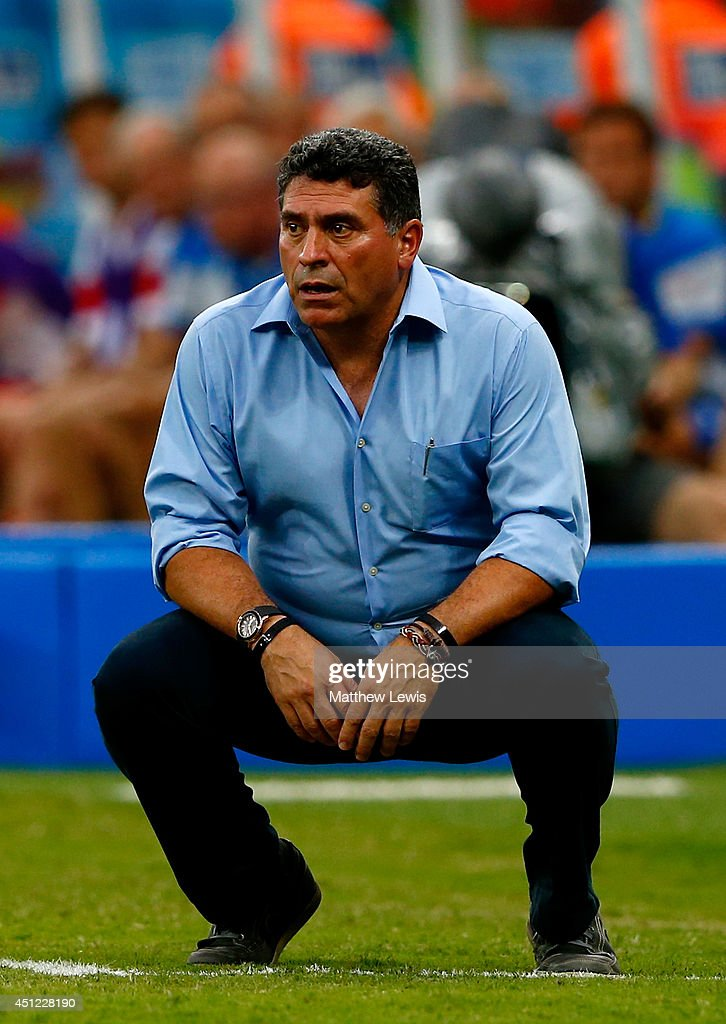 Head coach Luis Fernando Suarez of Honduras looks on during the 2014 FIFA World Cup Brazil Group E match between Honduras and Switzerland at Arena Amazonia on June 25, 2014 in Manaus, Brazil.