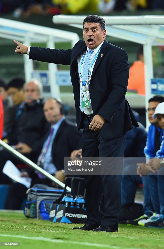 Head coach Luis Fernando Suarez of Honduras reacts during the 2014 FIFA World Cup Brazil Group E match between Honduras and Ecuador at Arena da Baixada on June 20, 2014 in Curitiba, Brazil.