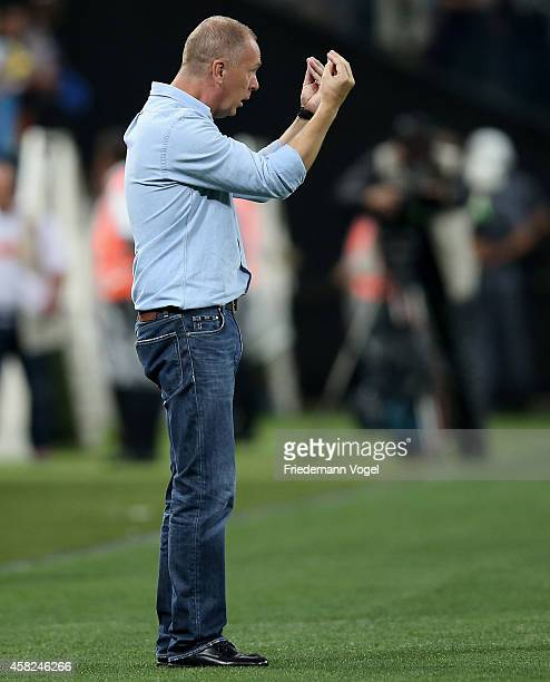 Head coach Luiz Antonio Venker Menezes of Corinthians gives advise during the match between Corinthians and Coritiba for the Brazilian Series A 2014...