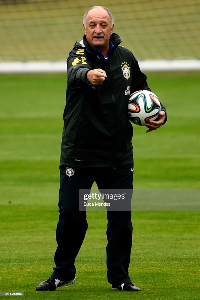 Head coach Luiz Felipe Scolari gestures during a training session of the Brazilian national football team at the squad's Granja Comary training complex, on July 11, 2014 in Teresopolis, 90 km from downtown Rio de Janeiro, Brazil.