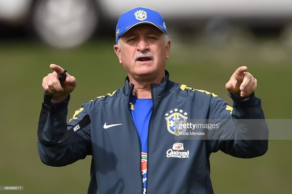Head coach Luiz Felipe Scolari in action during a training session of the Brazilian national football team at the squad's Granja Comary training complex, in Teresopolis, 90 km from downtown Rio de Janeiro on May 29, 2014 in Teresopolis, Brazil.