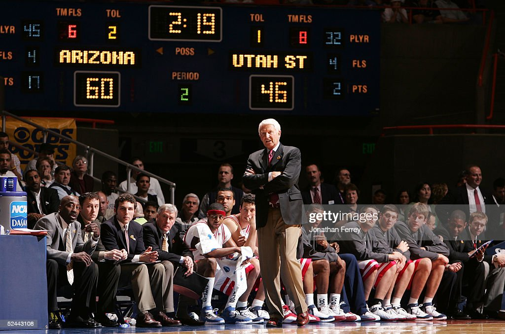 Head coach Lute Olson of the Arizona Wildcats looks on during the 2005 NCAA division 1 men's basketball championship tournament game against the Utah...