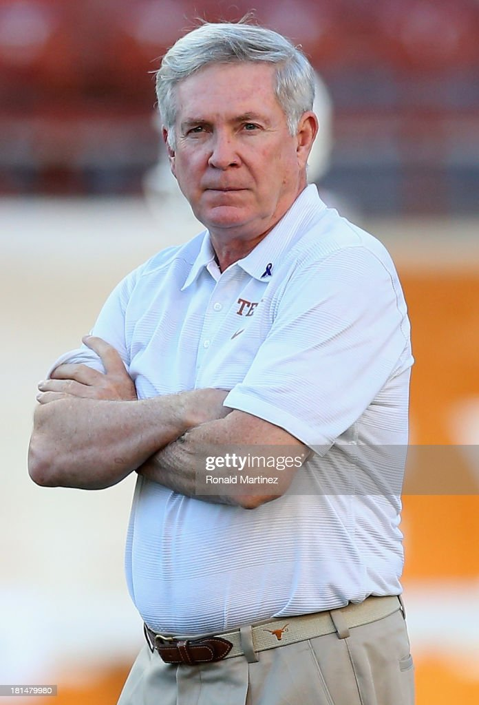 Head coach Mack Brown of the Texas Longhorns before a game against the Kansas State Wildcats at Darrell K Royal-Texas Memorial Stadium on September 21, 2013 in Austin, Texas.