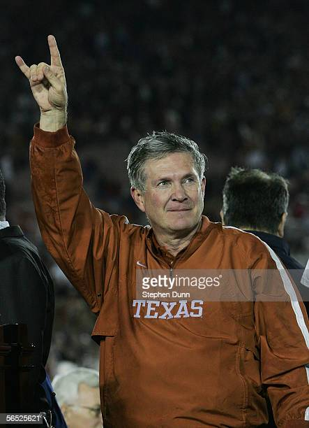 Head coach Mack Brown of the Texas Longhorns celebrates after defeating the USC Trojans 4138 to win the BCS National Championship Rose Bowl Game on...