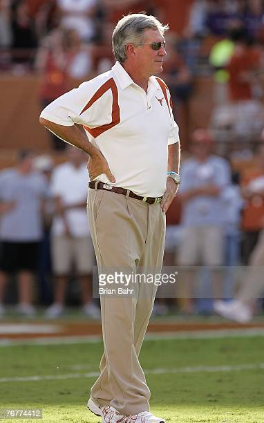 Head Coach Mack Brown of the Texas Longhorns walks the field prior to their game against the TCU Horned Frogs on September 8 2007 at Darren K Royal...