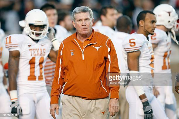 Head coach Mack Brown of the Texas Longhorns watches practice before the game against the Texas Tech Red Raiders on November 1 2008 at Jones Stadium...