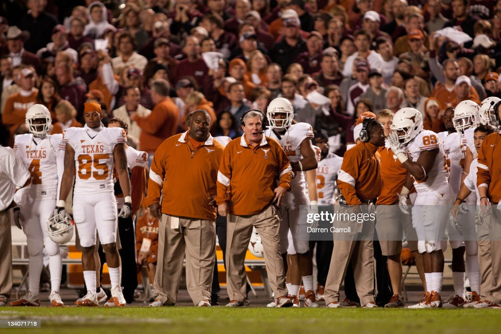 Head Coach Mack Brown of the Texas Longhorns works the sidelines in the second half of a game against the Texas A&M Aggies at Kyle Field on November 24, 2011 in College Station, Texas.