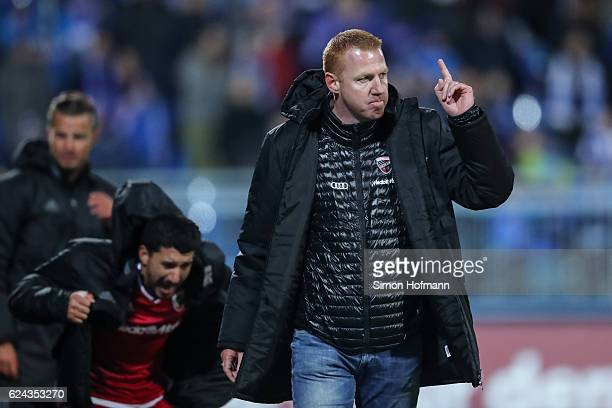 Head coach Maik Walpurgis of Ingolstadt celebrates winning after the Bundesliga match between SV Darmstadt 98 and FC Ingolstadt 04 at Stadion am...