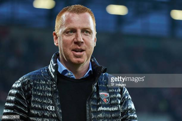 Head coach Maik Walpurgis of Ingolstadt looks on during the Bundesliga match between FC Augsburg and FC Ingolstadt 04 at WWK Arena on April 5 2017 in...