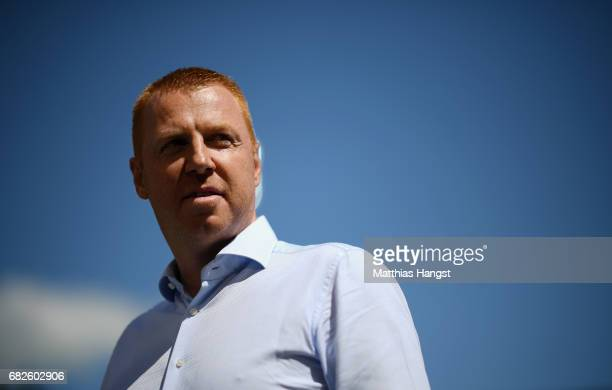 Head coach Maik Walpurgis of Ingolstadt seen prior to the Bundesliga match between SC Freiburg and FC Ingolstadt 04 at SchwarzwaldStadion on May 13...