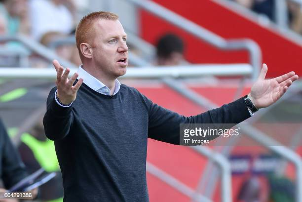 Head coach Maik Walpurgisof Ingolstadt gestures during the Bundesliga match between FC Ingolstadt 04 and 1 FSV Mainz 05 at Audi Sportpark on April 2...