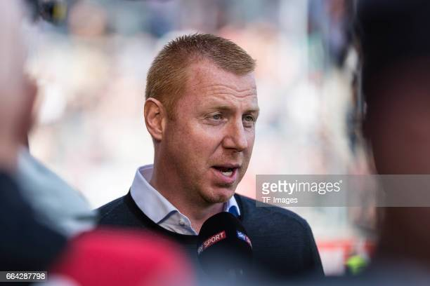 Head coach Maik Walpurgisof Ingolstadt gives a interview before the Bundesliga match between FC Ingolstadt 04 and 1 FSV Mainz 05 at Audi Sportpark on...
