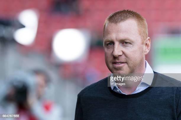 Head coach Maik Walpurgisof Ingolstadt looks on during the Bundesliga match between FC Ingolstadt 04 and 1 FSV Mainz 05 at Audi Sportpark on April 2...