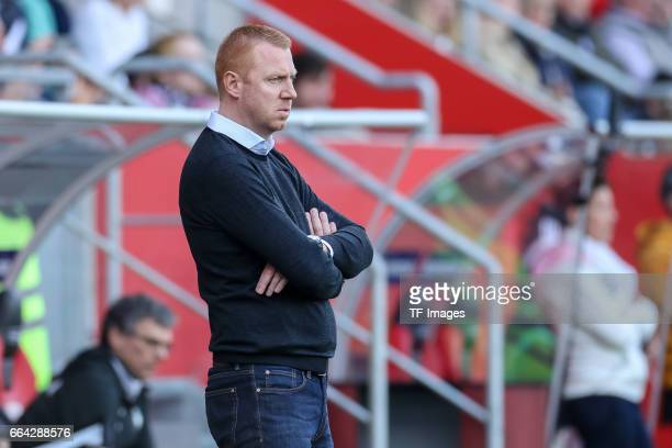 Head coach Maik Walpurgisof Ingolstadt looks on during the Bundesliga match between FC Ingolstadt 04 and 1 FSV Mainz 05 at Audi Sportpark on April 2...