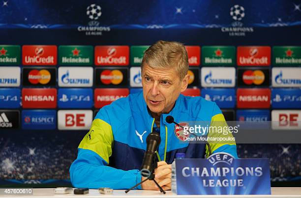 Head Coach / Manager Arsene Wenger speaks to the media during the Arsenal Press Conference held at Constant Vanden Stock Stadium on October 21 2014...