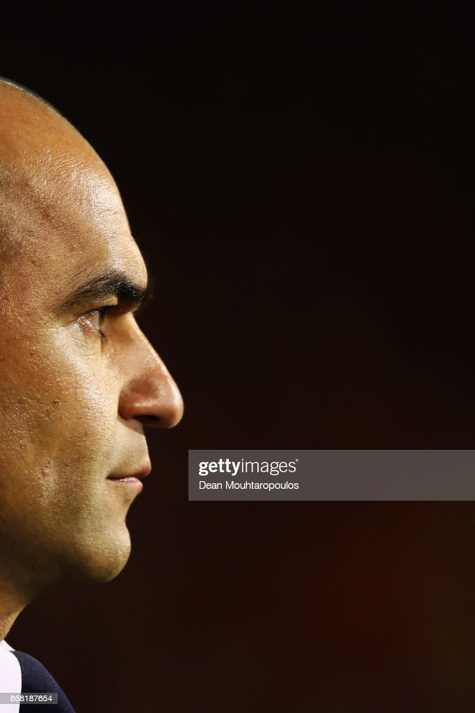 Head coach / Manager of Belgium, Roberto Martinez looks on during the FIFA 2018 World Cup Group H Qualifier match between Belgium and Greece at Stade Roi Baudouis on March 25, 2017 in Brussels, Belgium.