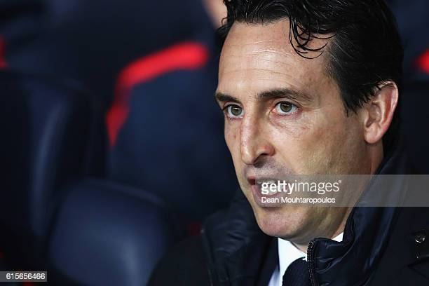 Head Coach / Manager of PSG Unai Emery looks on during the Group A UEFA Champions League match between Paris SaintGermain Football Club and Fussball...