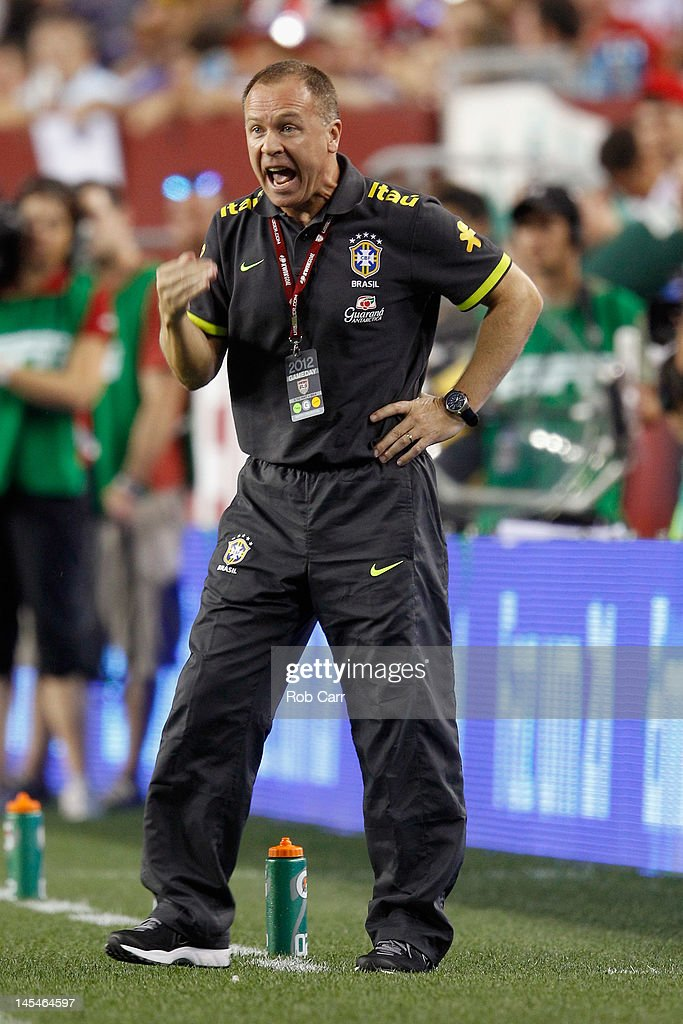 Head coach Mano Menezes of Brazil reacts to a play against USA during an International friendly game at FedExField on May 30, 2012 in Landover, Maryland.
