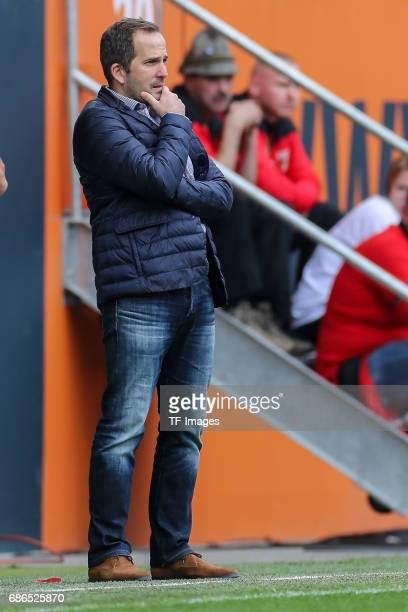 Head coach Manuel Baum of Augsburg looks on during the Bundesliga match between FC Augsburg and Borussia Dortmund at the WWKArena on May 13 2017 in...