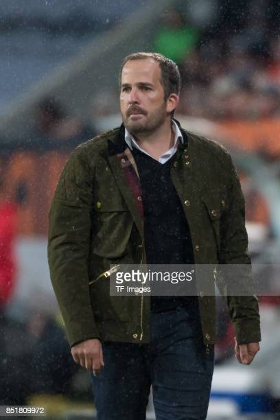 Head coach Manuel Baum of Augsburg looks on during the Bundesliga match between FC Augsburg and RB Leipzig at WWKArena on September 19 2017 in...