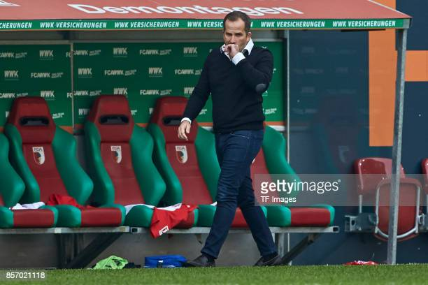 Head coach Manuel Baum of Augsburg looks on during the Bundesliga match between FC Augsburg and Borussia Dortmund at WWKArena on September 30 2017 in...