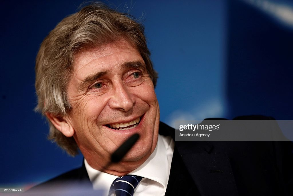 Head coach Manuel Pellegrini of Manchester City during a press conference ahead of the UEFA Champions League Semi Final second leg match between Real Madrid and Manchester City FC at Estadio Santiago Bernabeu on May 3, 2016 in Madrid, Spain.