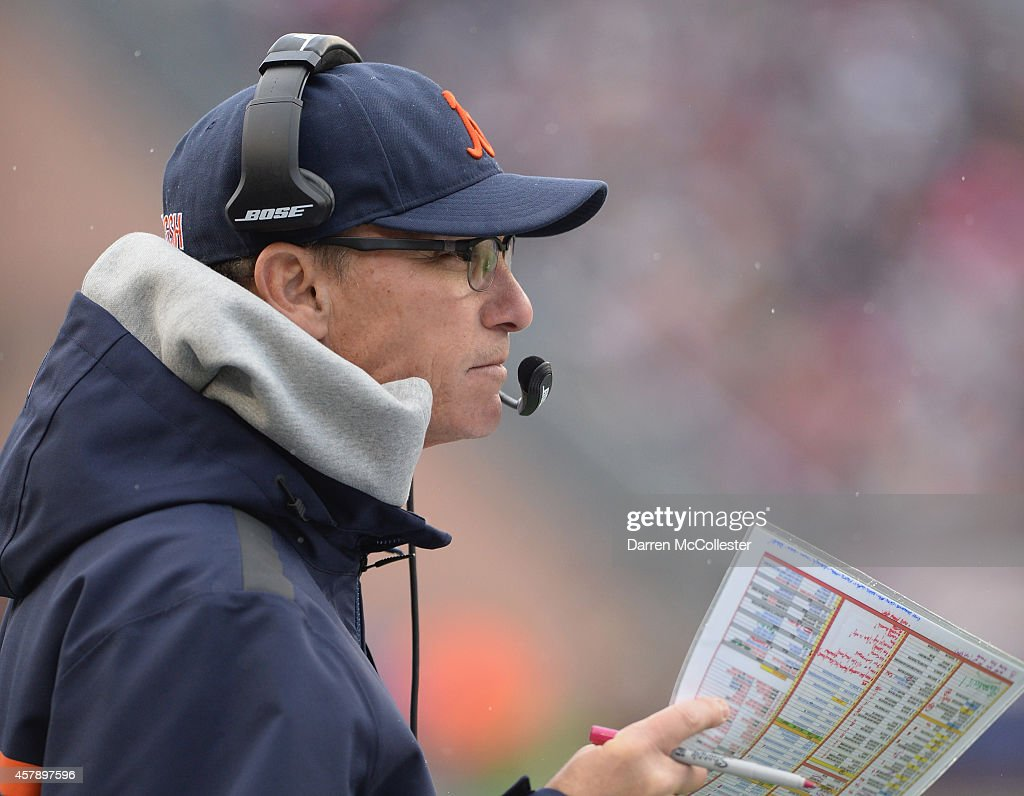 Head coach <a gi-track='captionPersonalityLinkClicked' href=/galleries/search?phrase=Marc+Trestman&family=editorial&specificpeople=2769711 ng-click='$event.stopPropagation()'>Marc Trestman</a> of the Chicago Bears looks on during the fourth quarter against the New England Patriots at Gillette Stadium on October 26, 2014 in Foxboro, Massachusetts.
