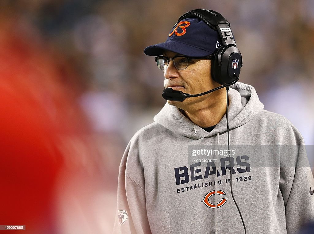 Head coach <a gi-track='captionPersonalityLinkClicked' href=/galleries/search?phrase=Marc+Trestman&family=editorial&specificpeople=2769711 ng-click='$event.stopPropagation()'>Marc Trestman</a> of the Chicago Bears looks on from the sidelines during the fourth quarter against the Philadelphia Eagles in a game at Lincoln Financial Field on December 22, 2013 in Philadelphia, Pennsylvania. The Eagles defeated the Bears 54-11.