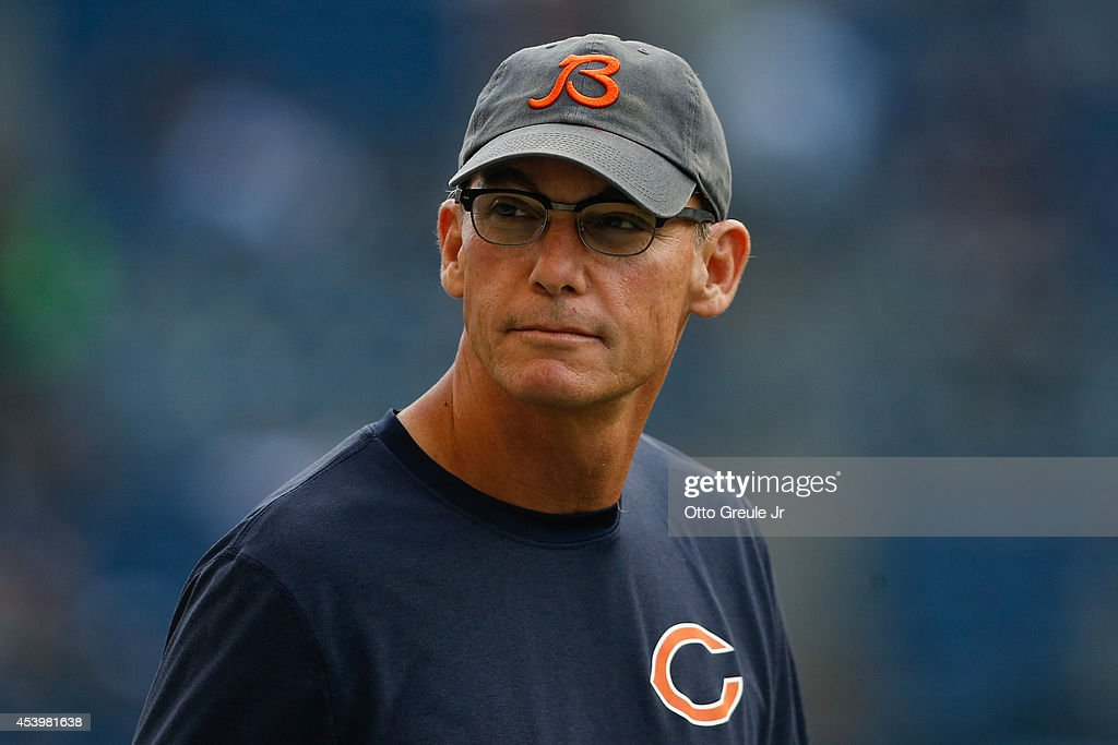 Head coach <a gi-track='captionPersonalityLinkClicked' href=/galleries/search?phrase=Marc+Trestman&family=editorial&specificpeople=2769711 ng-click='$event.stopPropagation()'>Marc Trestman</a> of the Chicago Bears looks on prior to the game against the Seattle Seahawks at CenturyLink Field on August 22, 2014 in Seattle, Washington.