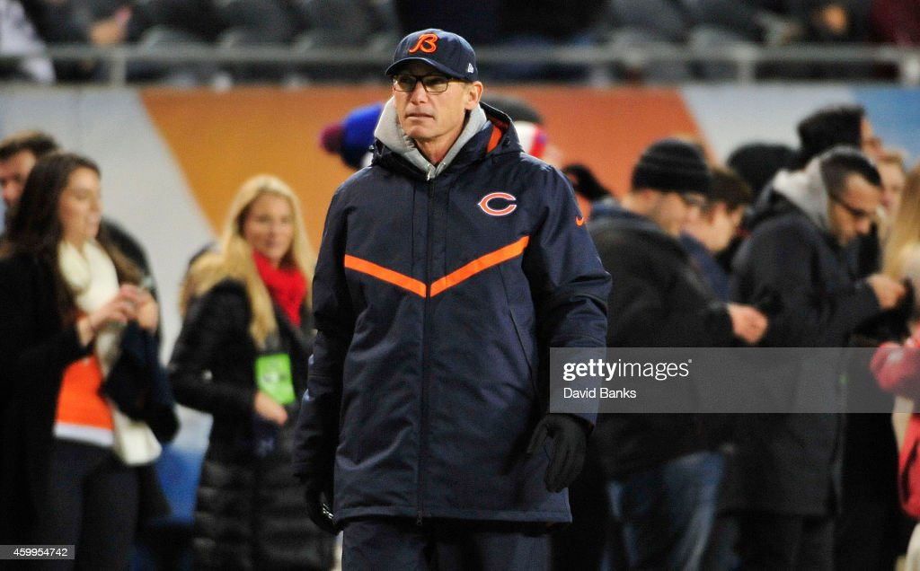 Head coach Marc Trestman of the Chicago Bears on the field during warmups before a game against the Dallas Cowboys at Soldier Field on December 4, 2014 in Chicago, Illinois.
