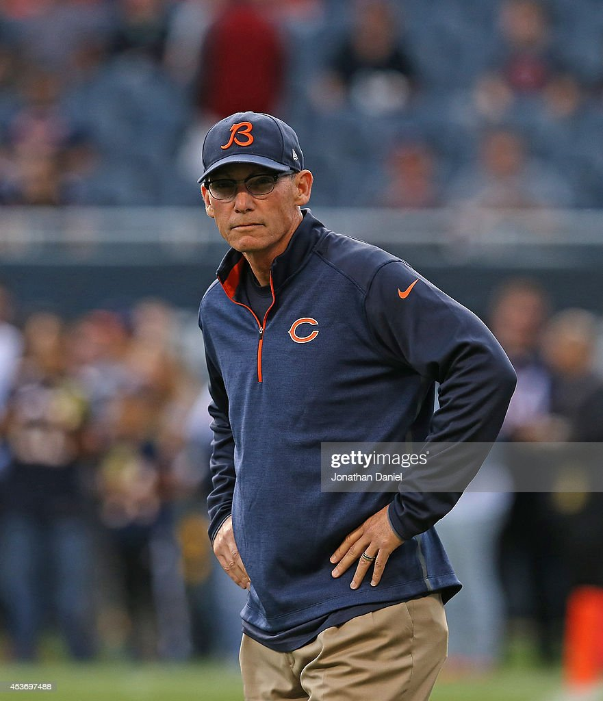 Head coach <a gi-track='captionPersonalityLinkClicked' href=/galleries/search?phrase=Marc+Trestman&family=editorial&specificpeople=2769711 ng-click='$event.stopPropagation()'>Marc Trestman</a> of the Chicago Bears on the field prior to their preseason game against the Jacksonville Jaguars at Soldier Field on August 14, 2014 in Chicago, Illinois.