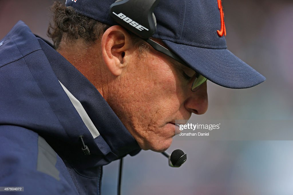 Head coach <a gi-track='captionPersonalityLinkClicked' href=/galleries/search?phrase=Marc+Trestman&family=editorial&specificpeople=2769711 ng-click='$event.stopPropagation()'>Marc Trestman</a> of the Chicago Bears paces the sidelines during a game against the Miami Dolphins at Soldier Field on October 19, 2014 in Chicago, Illinois. The Dolphins defeated the Bears 27-14.