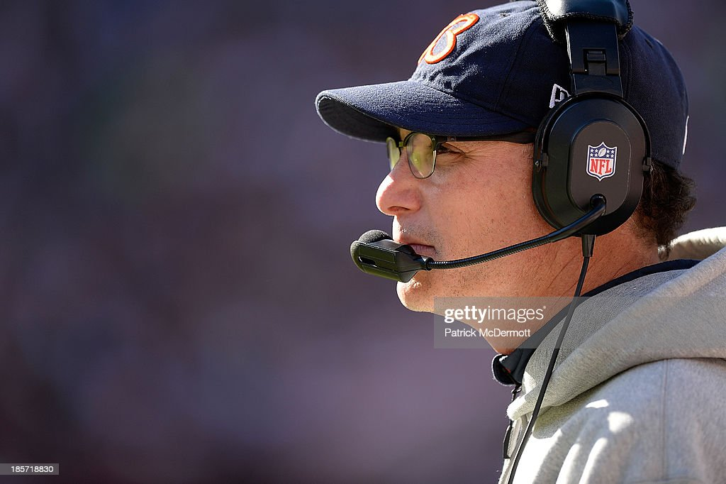 Head coach <a gi-track='captionPersonalityLinkClicked' href=/galleries/search?phrase=Marc+Trestman&family=editorial&specificpeople=2769711 ng-click='$event.stopPropagation()'>Marc Trestman</a> of the Chicago Bears reacts in the third quarter during an NFL game against the Washington Redskins at FedExField on October 20, 2013 in Landover, Maryland.