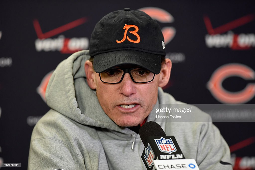 Head coach <a gi-track='captionPersonalityLinkClicked' href=/galleries/search?phrase=Marc+Trestman&family=editorial&specificpeople=2769711 ng-click='$event.stopPropagation()'>Marc Trestman</a> of the Chicago Bears speaks to the media after the game against the Minnesota Vikings on December 28, 2014 at TCF Bank Stadium in Minneapolis, Minnesota. The Vikings defeated the Bears 13-9.