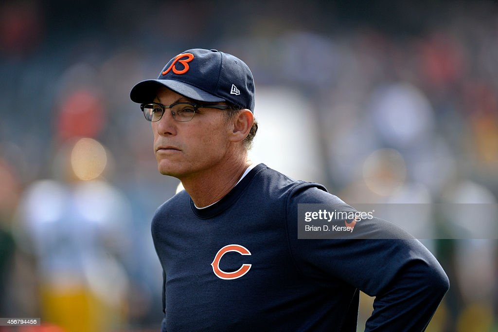 Head coach <a gi-track='captionPersonalityLinkClicked' href=/galleries/search?phrase=Marc+Trestman&family=editorial&specificpeople=2769711 ng-click='$event.stopPropagation()'>Marc Trestman</a> of the Chicago Bears stands on the sidelines during warmups before the game against the Green Bay Packers on September 28, 2014 at Soldier Field in Chicago, Illinois. The Packers defeated the Bears 38-17.