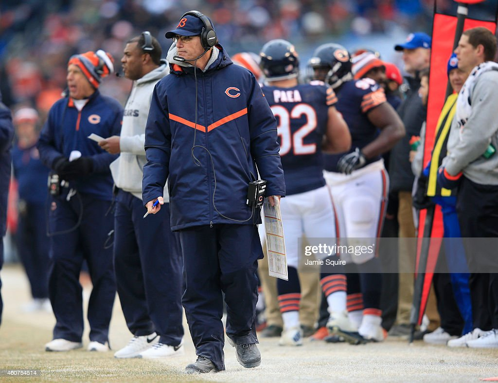 Head coach <a gi-track='captionPersonalityLinkClicked' href=/galleries/search?phrase=Marc+Trestman&family=editorial&specificpeople=2769711 ng-click='$event.stopPropagation()'>Marc Trestman</a> of the Chicago Bears watches from the sideline during the fourth quarter of a game against the Detroit Lions at Soldier Field on December 21, 2014 in Chicago, Illinois. The Lions defeated the Bears 20-14.